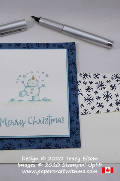 Simple Christmas card created using the Snowman Season Stamp Set from Stampin' Up! #papercraftwithme #simplestamping