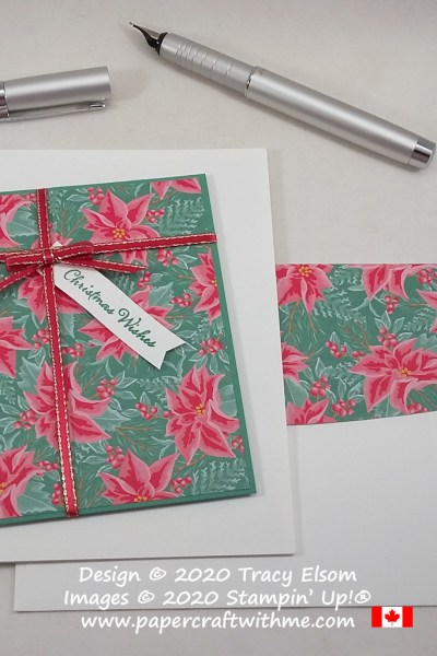 Christmas card with gift design created using the Itty Bitty Christmas Stamp Set and Flowers For Every Season Stamp paper from Stampin' Up! #papercraftwithme