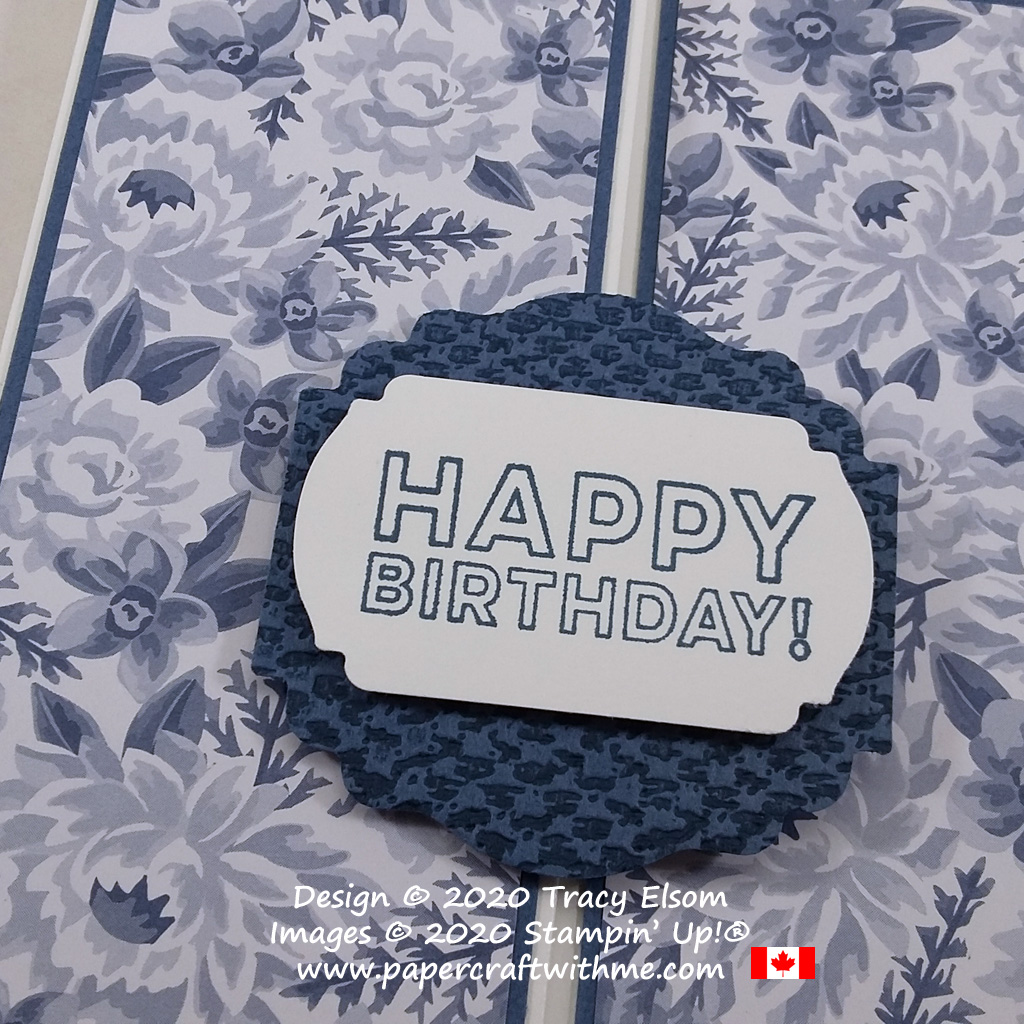Happy birthday sentiment from the Many Mates Stamp Set layered using the Label Me Fancy and Label Me Lovely Punches from Stampin' Up! #papercraftwithme
