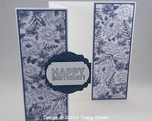 2046 Z-Fold Blue Flower Birthday Card