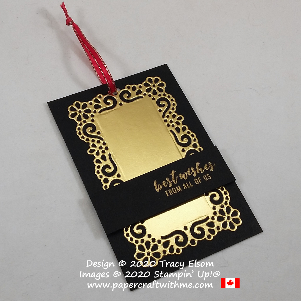 Dramatic gold and black best wishes gift tag created using the Itty Bitty Greetings Stamp Set and Ornate Layers Dies from Stampin' Up! #papercraftwithme