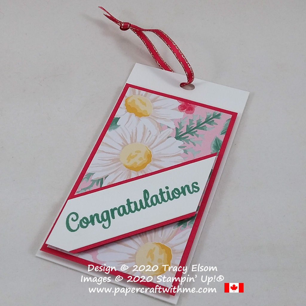 Congratulations gift tag created using the Here's A Card Stamp Set and Flowers For Every Season paper from Stampin' Up! #papercraftwithme