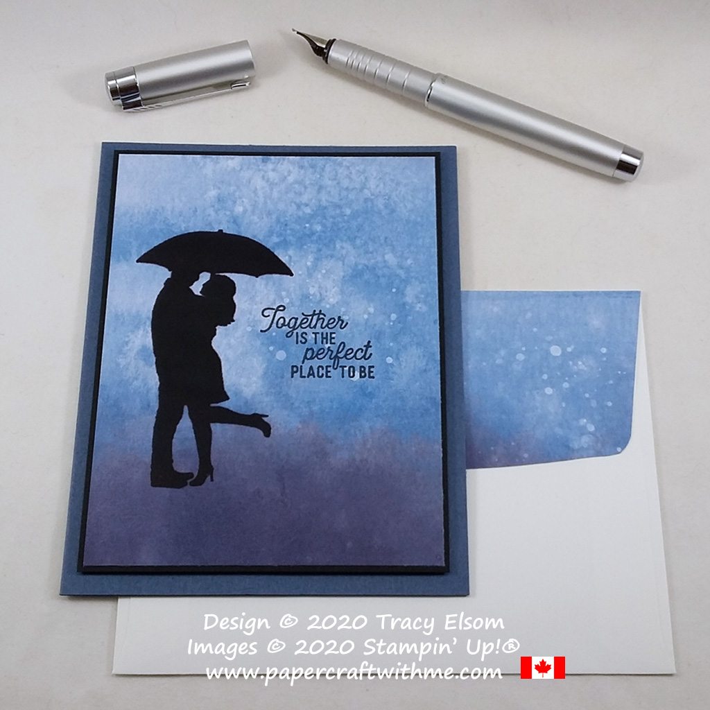 """Silhouette couple in the rain with """"together is the perfect place to be"""" sentiment on this card created using the Silhouette Scenes Stamp Set from Stampin' Up! #simplestamping #papercraftwithme"""