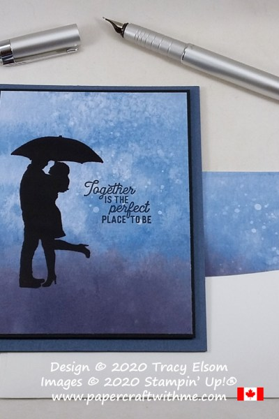 "Silhouette couple in the rain with ""together is the perfect place to be"" sentiment on this card created using the Silhouette Scenes Stamp Set from Stampin' Up! #simplestamping #papercraftwithme"
