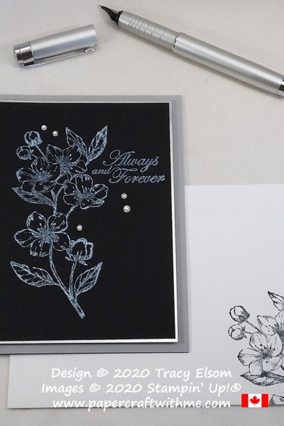 "Monochrome white on black card with floral image and ""Always and Forever"" sentiment created using the Forever Blossoms Stamp Set from Stampin' Up! #papercraftwthme"