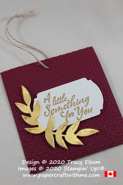 "All occasion gift tag with ""a little something for you"" sentiment, created using the Wrapped In Christmas Stamp Set, Wrapped In Texture Embossing Folder and Forever Flourishing Dies from Stampin' Up! #papercraftwithme"