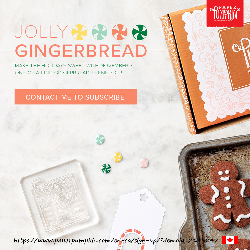 Get the November 2020 Paper Pumpkin kit called Jolly Gingerbread. Contains everything to make 15 giftcard carriers with envelopes. Subscribe by November 10th. #papercraftwithme