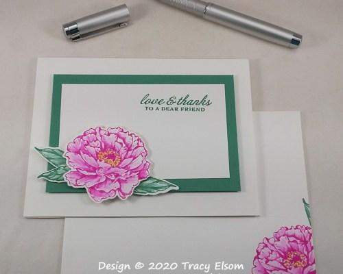 2092 Pink Peony Love & Thanks Card