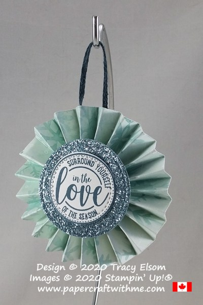 Rosette ornament created using the Snowflake Splendor paper and Wrapped In Christmas Stamp Set from Stampin' Up! #papercraftwithme