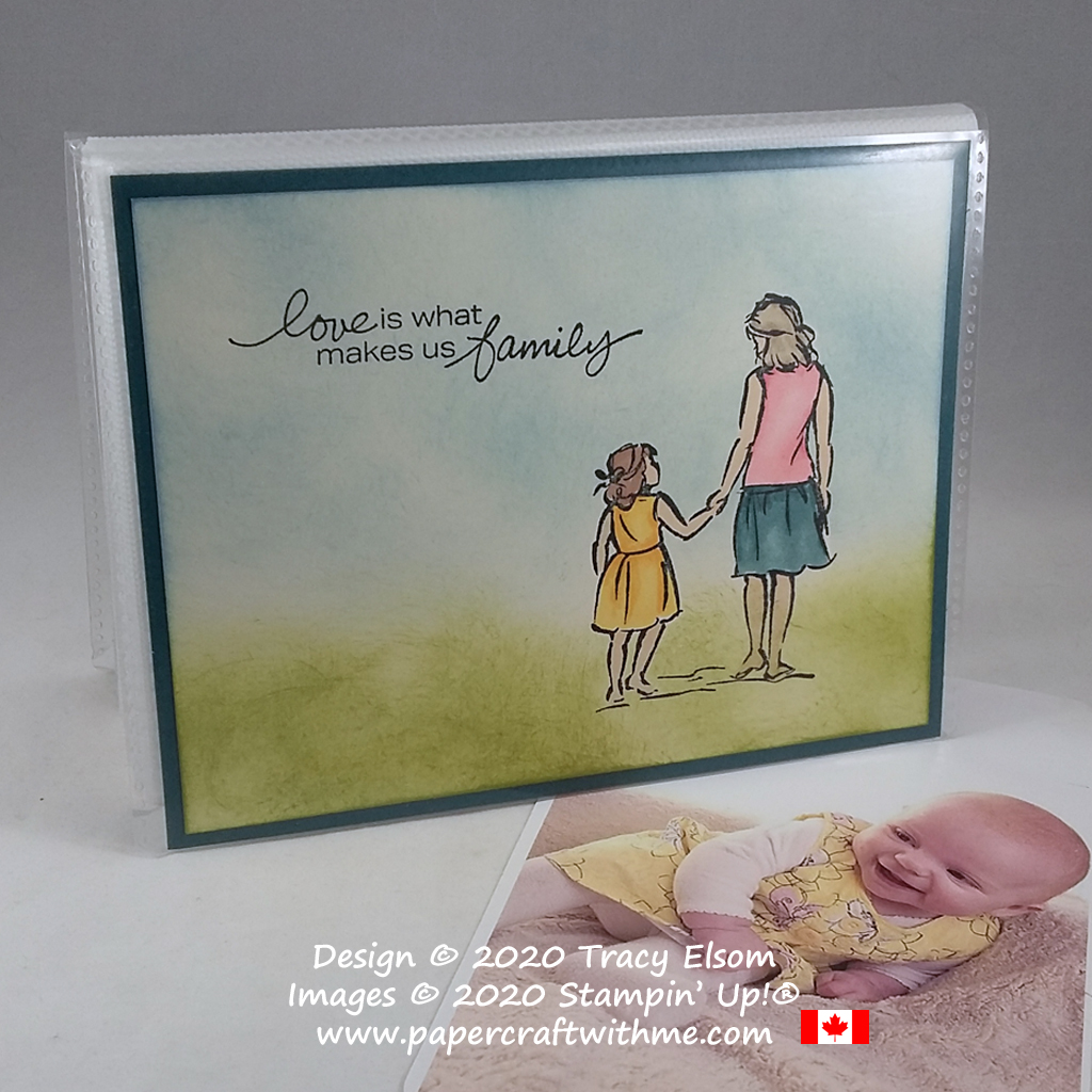 """Love is what makes us family"" 4"" x 6"" pocket photo album created using the Beautiful Moments and Lovely You Stamp Sets from Stampin' Up! #papercraftwithme"
