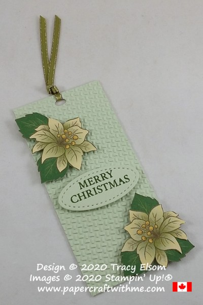 Large Christmas gift tag created using the retiring Wrapped in Texture Embossing Folder and Poinsettia Place paper from Stampin' Up! #papercraftwithme