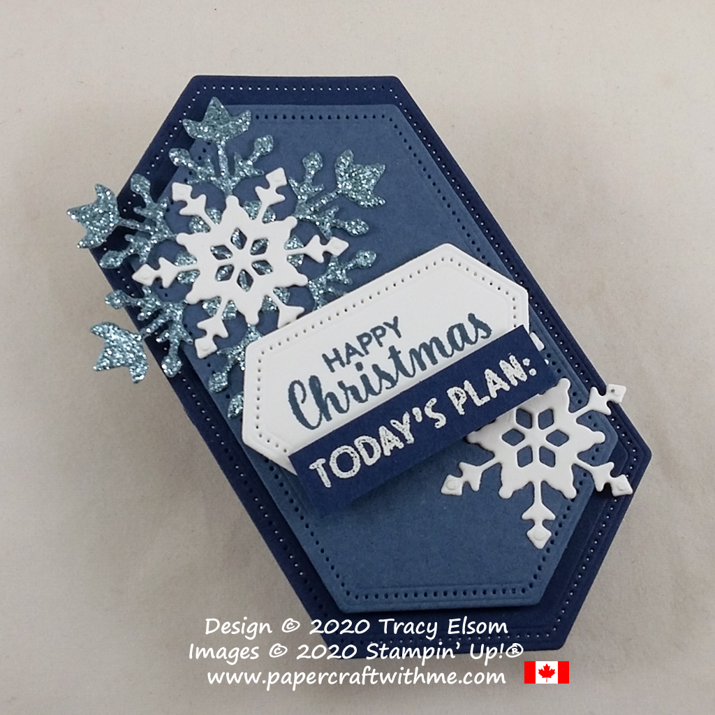 """Fridge magnet with """"Happy Christmas Today's Plan:"""" sentiment created using the Itty Bitty Christmas and Nothing's Better Than Stamp Sets and So Many Snowflakes Dies from Stampin' Up! #papercraftwithme"""