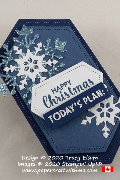 "Fridge magnet with ""Happy Christmas Today's Plan:"" sentiment created using the Itty Bitty Christmas and Nothing's Better Than Stamp Sets and So Many Snowflakes Dies from Stampin' Up! #papercraftwithme"