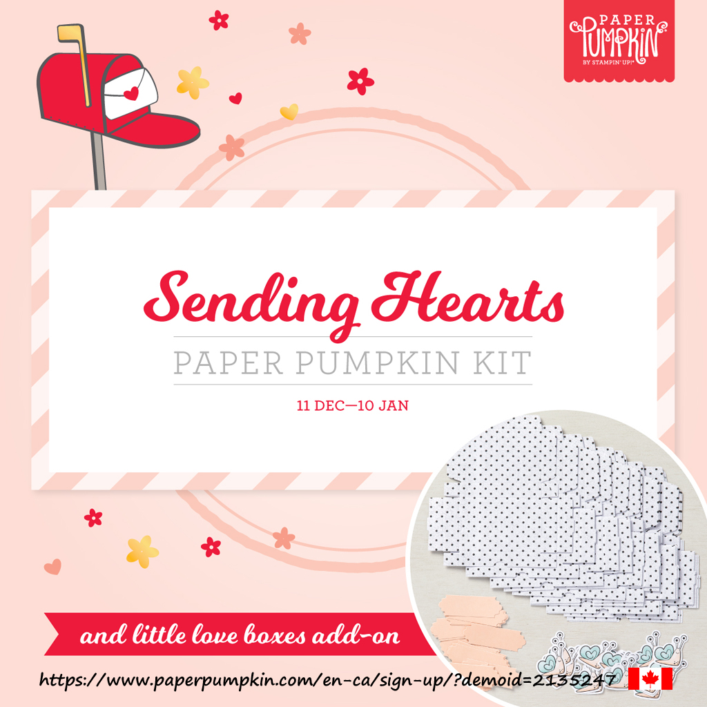 """The January 2021 Paper Pumpkin kit """"Sending Hearts"""" contains everything you need to create 8 cards (4 each of 2 designs). Subscribe by January 10th. #papercraftwithme"""