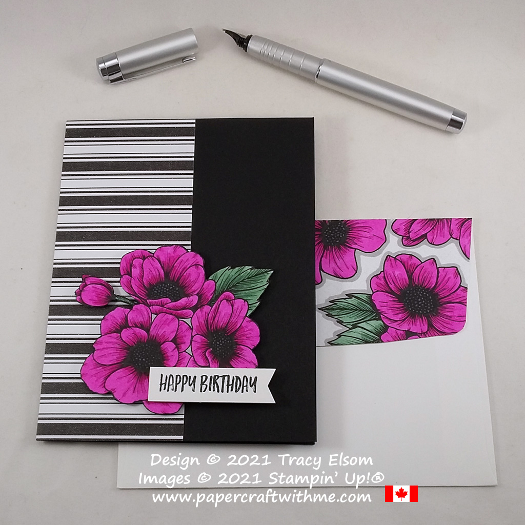 Magenta Madness floral birthday card created using the Zany Zebras Stamp Set with True Love patterned paper coloured using Stampin' Blends from Stampin' Up! #papercraftwithme