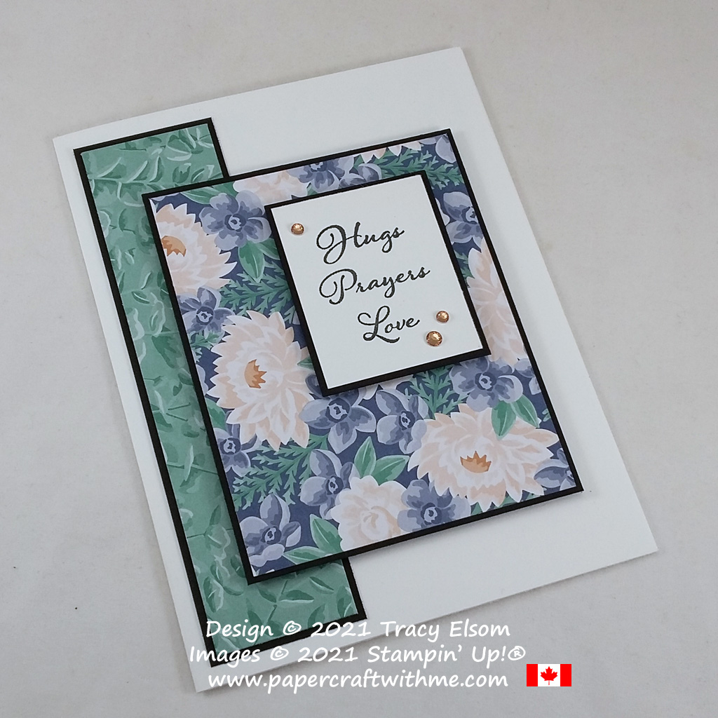 """Simple card with """"Hugs Prayers Love"""" sentiment created using the Positive Thoughts Stamp Set and Flowers For Every Season paper from Stampin' Up! #simplestamping #papercraftwithme"""