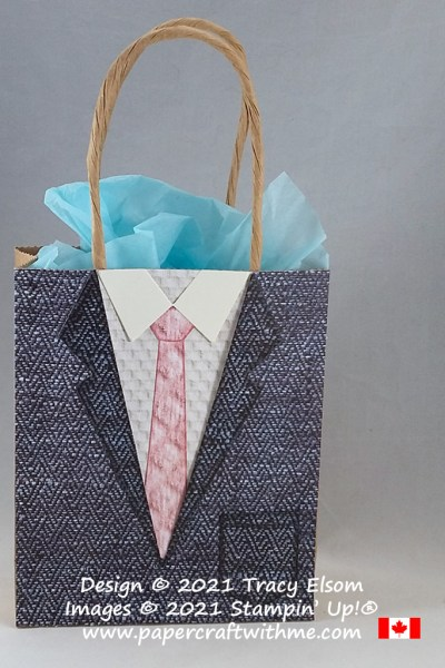 Fun suit bag designed using the Suit & Tie Dies from Stampin' Up! #papercraftwithme