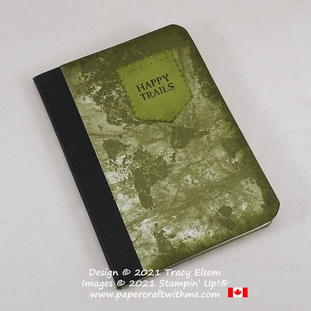 Masculine camouflage style notebook decorated using the World Of Good paper and Campology Stamp Set from Stampin' Up! #papercraftwithme