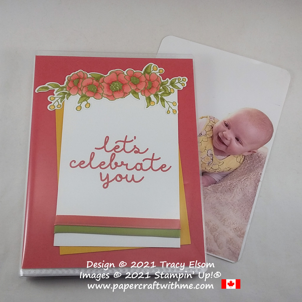 "4"" x 6"" pocket photo album with ""Let's celebrate you"" sentiment created using the Bloom & Grow Stamp Set and Budding Blooms Dies from Stampin' Up! #papercraftwithme"