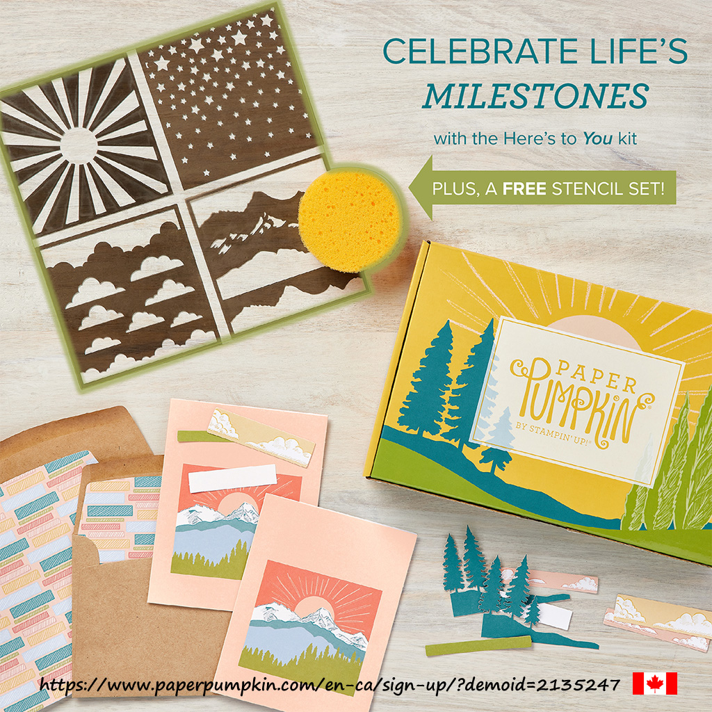 """The March 2021 Paper Pumpkin kit is called """"Here's to You"""" and will contain everything you need to make 8 cards with envelopes (4 each of 2 designs), plus a free stencil set and sponge.  Subscribe by March 10th. #papercraftwithme"""