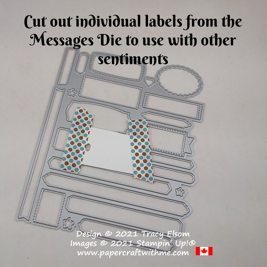 Using the Messages Die from Stampin' Up! to cut individual sentiment labels. #papercraftwithme