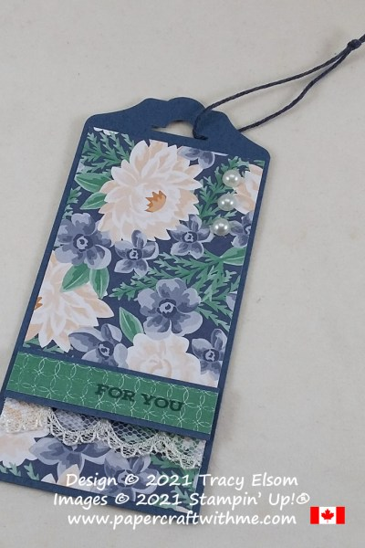 "Blue & vanilla ""for you"" gift tag created using the Four Season Floral Stamp Set and Flowers For Every Season paper from Stampin' Up! #papercraftwithme"