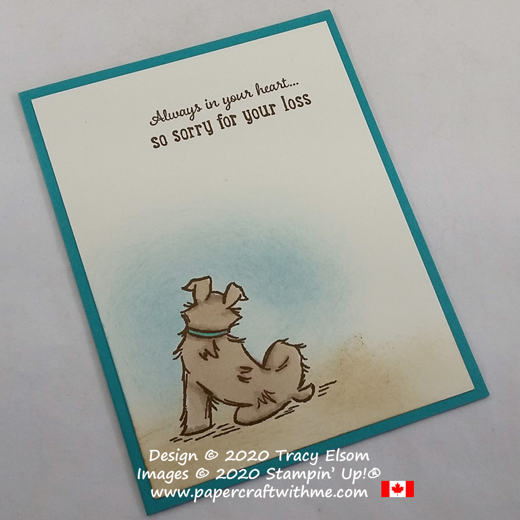 """Card with """"So sorry for your loss"""" sentiment and dog image created using the Pampered Pets Stamp Set from Stampin' Up! #papercraftwithme"""