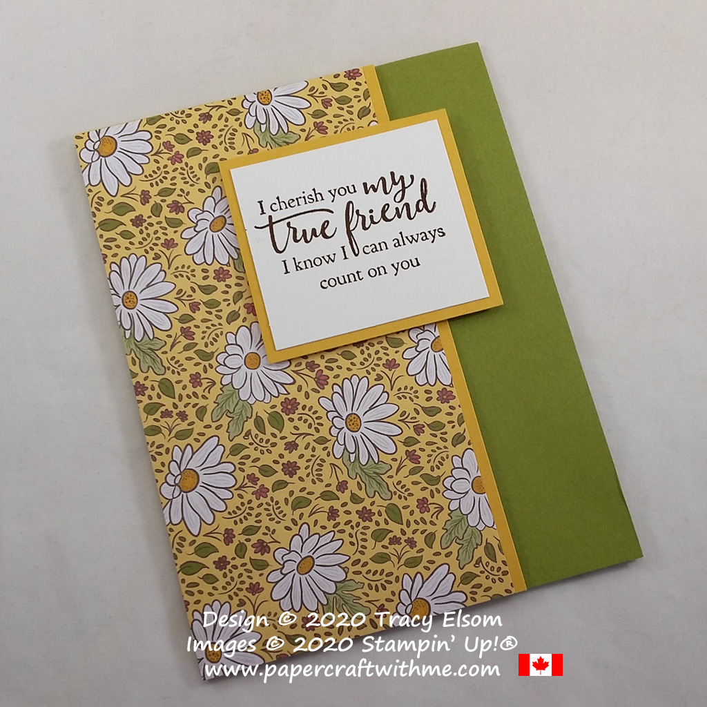 Simple floral friend card created using the Strong & Beautiful Stamp Set and Ornate Garden paper from Stampin' Up! #papercraftwithme