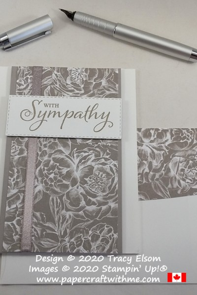 Pale grey and white sympathy card created using the Touched My Heart (host) Stamp Set and Peony Garden paper from Stampin' Up! #papercraftwithme