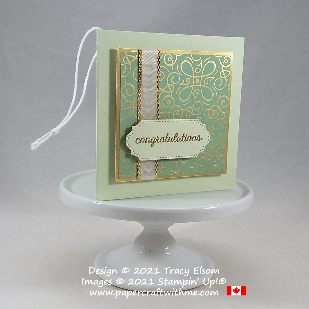 Folded congratulations gift tag created using the Itty Bitty Greetings Stamp Set and Ornate Frames Dies from Stampin' Up! #papercraftwithme