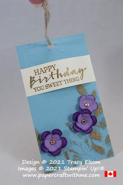 """Happy birthday you sweet thing"" tag created using the Sweet Strawberry Stamp Set, Strawberry Builder Punch and Small Bloom Punch from Stampin' Up! #papercraftwithme"
