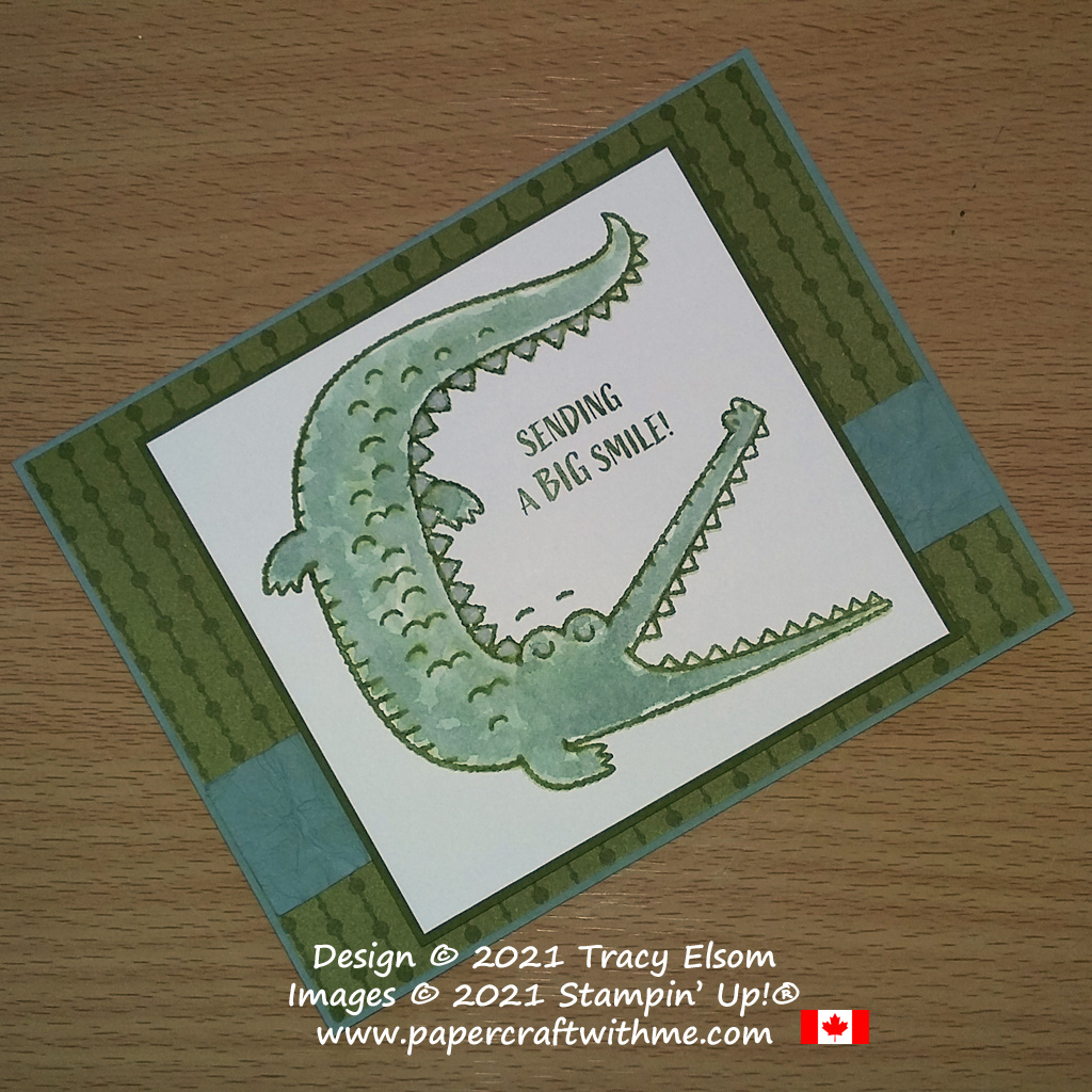 """""""Sending a big smile"""" card with crocodile image created using the Oh Snap Stamp Set from Stampin' Up! #papercraftwithme"""