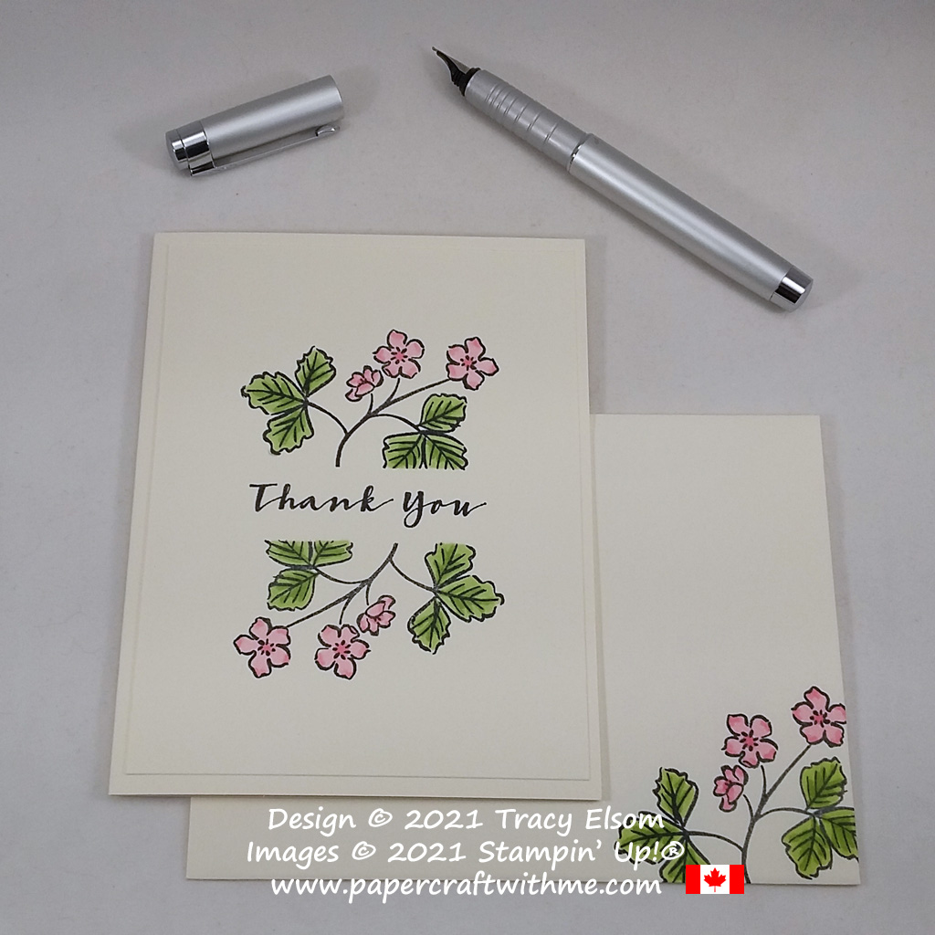 Simple thank you card created using the Sweet Strawberry Stamp Set and Stampin' Blends from Stampin' Up! #papercraftwithme #simplestamping