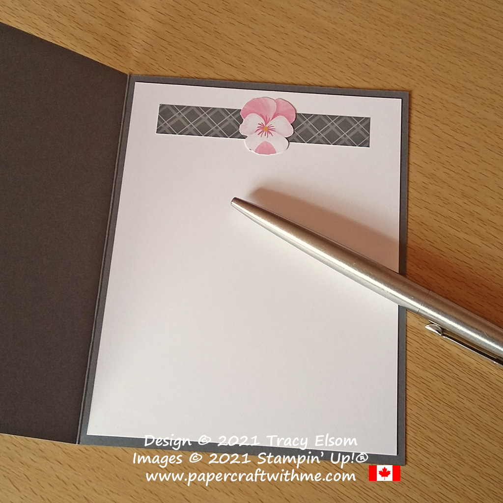 Inside of pink and grey birthday card created using the Pansy Patch Stamp Set and Pansy Petals DSP paper from Stampin' Up! #papercraftwithme