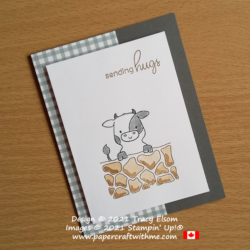 """""""Sending hugs"""" card with a cute cow image created using the Peekaboo Farm Stamp Set from Stampin' Up! #papercraftwithme #simplestamping"""