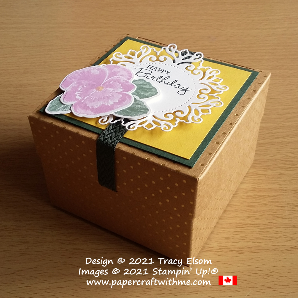 Scalloped Kraft Treat Box decorated using the Pansy Patch Stamp Set and coordinating Pansy Dies and Encircled In Beauty Dies, all from Stampin' Up! #papercraftwithme