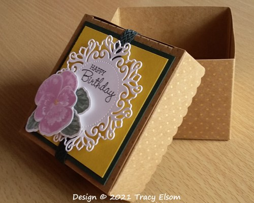 BB86 Pansy & Doily Birthday Box