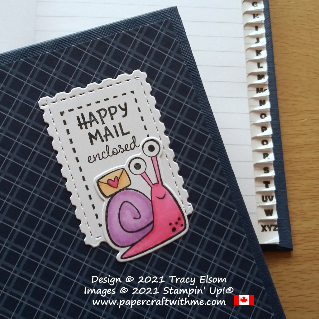 """A-Z index book decorated with snail image and """"Happy mail enclosed"""" sentiment from the Snailed It Stamp Set and coordinating Snail Dies from Stampin' Up! #papercraftwithme"""