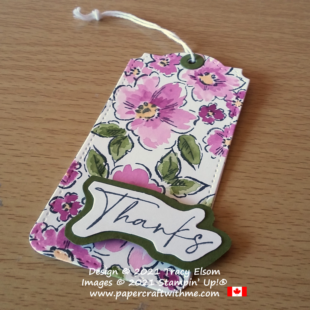 """""""Thanks"""" tag created using the Hand-Penned Petals Stamp Set and Tailor Made Tag Dies from Stampin' Up! #papercraftwithme"""