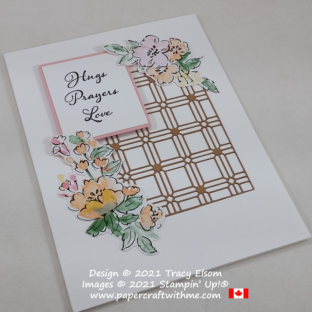 """""""Hugs Prayers Love"""" card created using the Positive Thoughts Stamp Set and Hand-Penned paper from Stampin' Up! #simplestamping #papercraftwithme"""