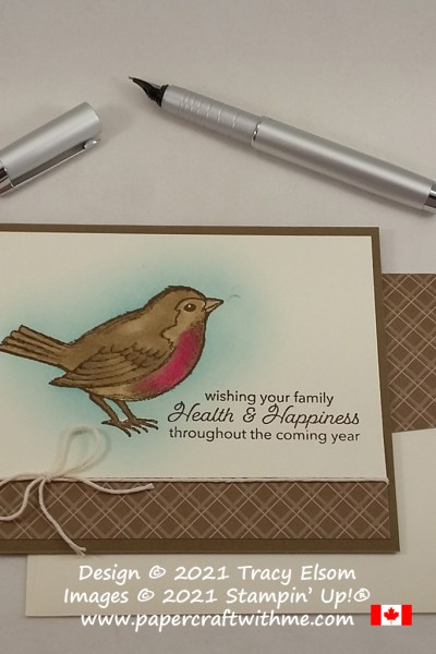 """Sweet robin card with """"health & happiness"""" sentiment created using the Happy Holly-days Stamp Set from Stampin' Up! #papercraftwithme"""