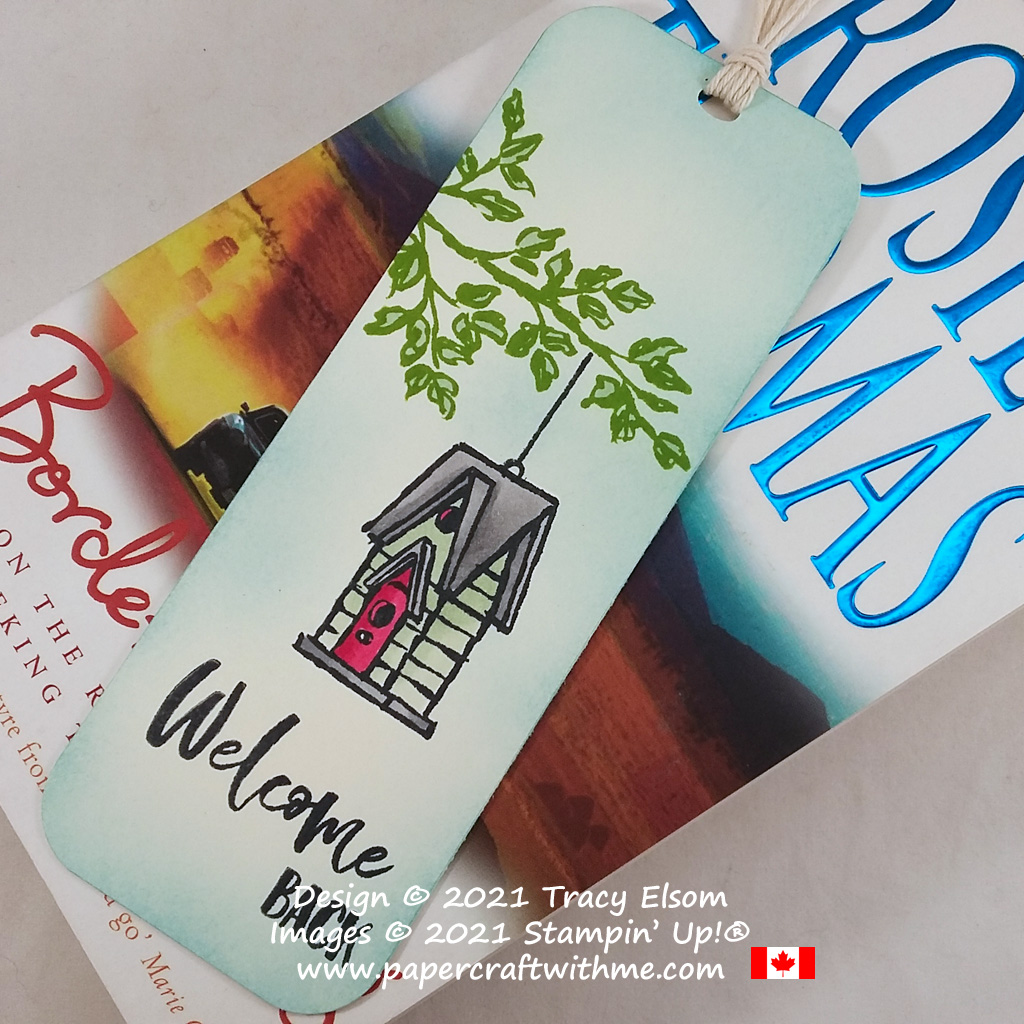 """""""Welcome back"""" bookmark created using the Garden Birdhouses Stamp Set from Stampin' Up! #papercraftwithme"""
