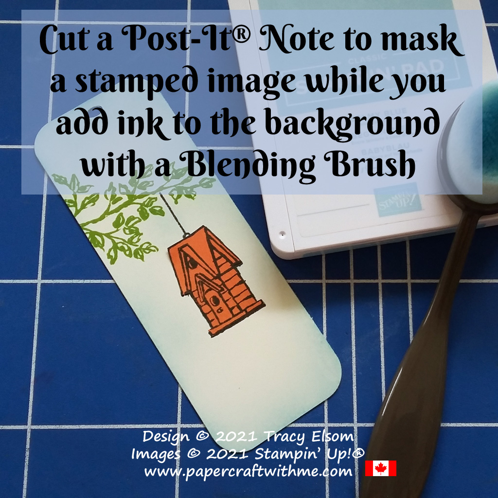 Cut a Post-It® Note to mask a stamped image while you add ink to the background with a Blending Brush. #papercraftwithme
