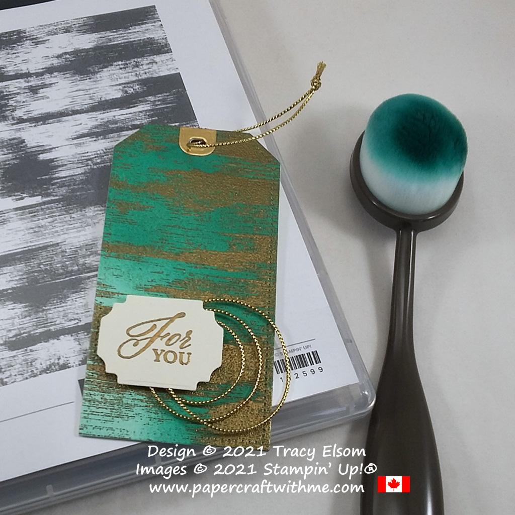 Gift tag created using the Elegantly Said and Drybrush Stamp Sets from Stampin' Up! #papercraftwithme