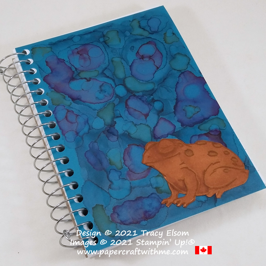 Frog notebook cover decorated using the Prince & Princess (Host) Stamp Set and Stampin' Blends Alcohol markers from Stampin' Up! #papercraftwithme