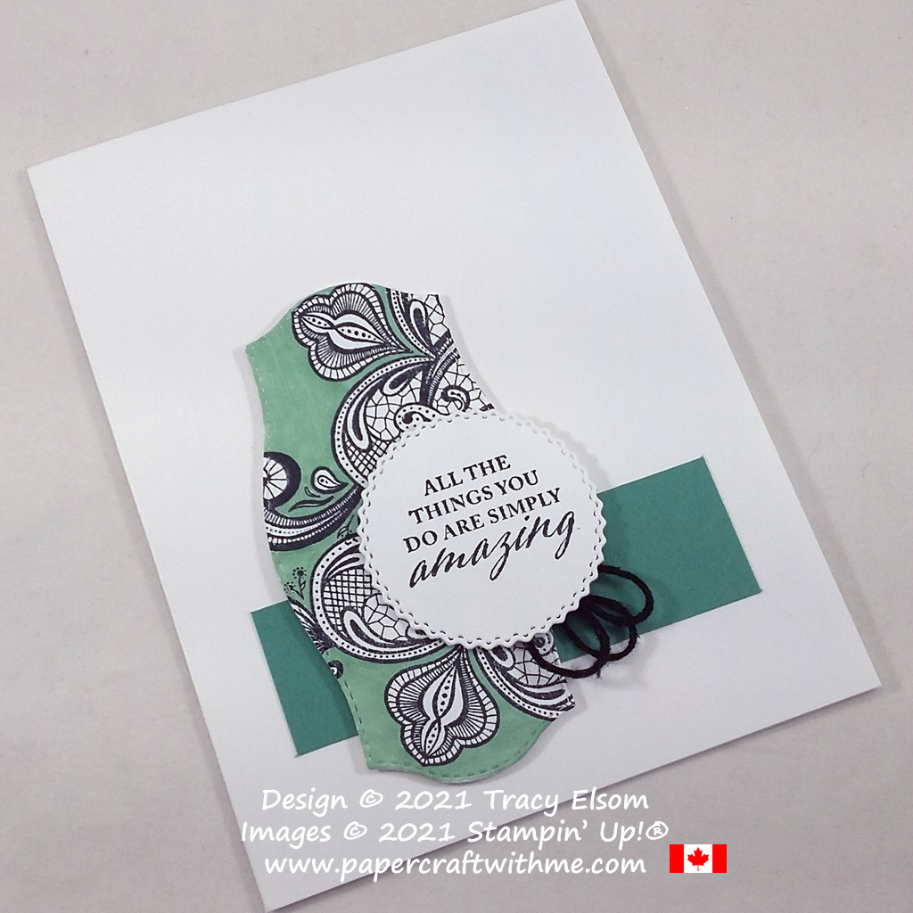 """""""Amazing"""" card created using the Elegantly Said Stamp Set and Tasteful Labels Dies from Stampin' Up! #papercraftwithme"""