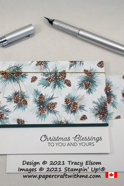 """Send """"Christmas blessings"""" with this simple card created using the Happy Holly-Days Stamp Set and Painted Christmas paper from Stampin' Up! #papercraftwithme"""
