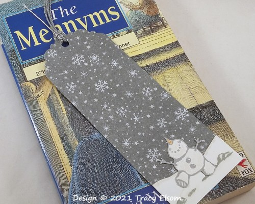 BM363 Silvery Snowman Bookmark
