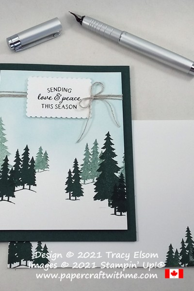 """""""Sending love & peace this season"""" with this simple winter scene card created using the Peaceful Deer Stamp Set from Stampin' Up! #papercraftwithme #simplestamping"""