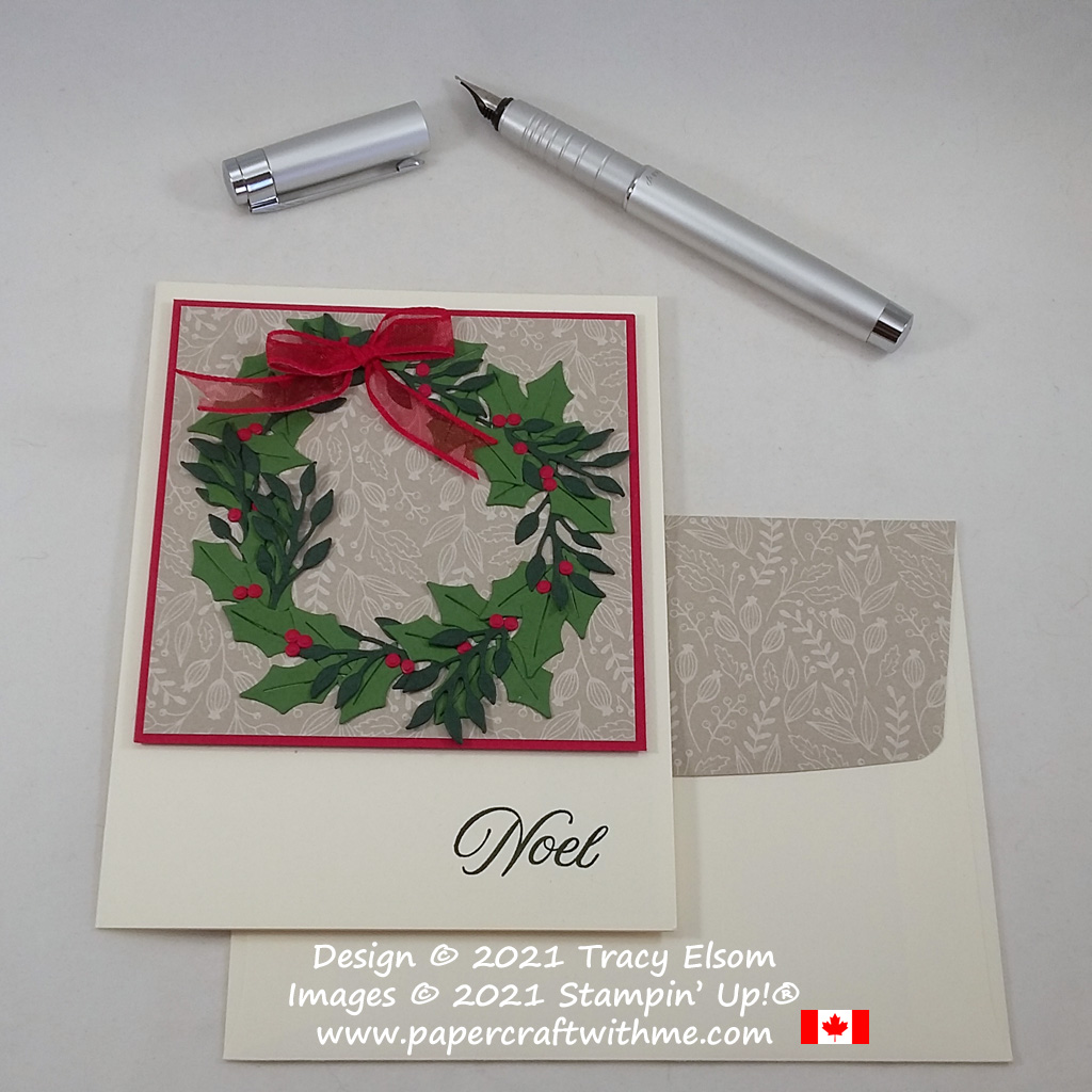 """Christmas wreath card with """"Noel"""" sentiment created using the Tidings & Trimmings Stamp Set and coordinating Christmas Trimmings Dies from Stampin' Up! #papercraftwithme"""
